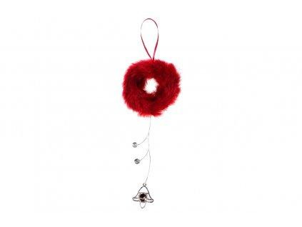 Sada 4 ks dekorací: Věneček z peří červený 45 cm