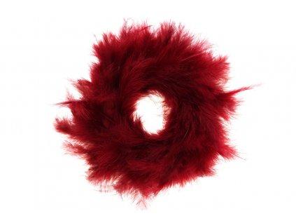 Sada 3 ks dekorací: Věnečky z peří červené 20 cm