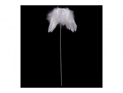 Sada 12 ks dekorací: Andělská křídla z peří bílá zápich