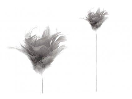 Sada 12 ks dekorací: Peří šedé / zápich