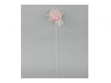 Sada 12 ks dekorací: Peří růžové / zápich