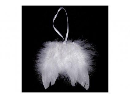 Sada 12 ks dekorací: Andělská křídla z peří bílá 8 cm