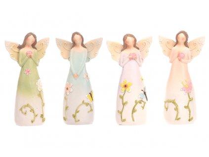Sada 4 ks dekorací: Andělé s květinami 16 cm