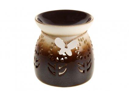 Sada 2 ks dekorací: Aroma lampy porcelánové, hnědo-béžové 10 cm