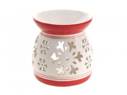Sada 2 ks dekorací: Aroma lampy keramické, bílo-červené 11 cm
