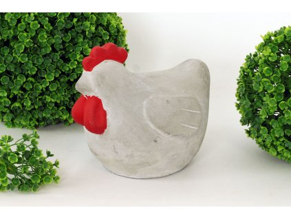 Sada 8 ks dekorací: Slepice betonová 15 x 12 x 12,5 cm