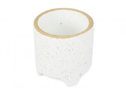 Sada 4 ks květináčů: Květináč betonový, bílý 13,5 x 13,5 x 13,5 cm