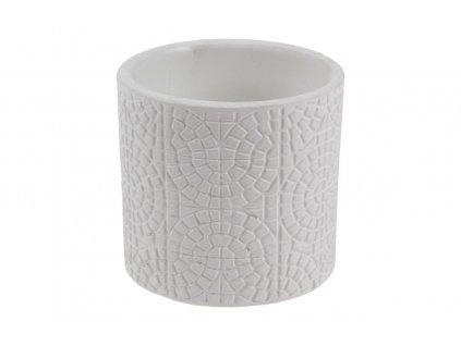 Sada 12 ks květináčů: Květináč keramický bílý 6,5 cm