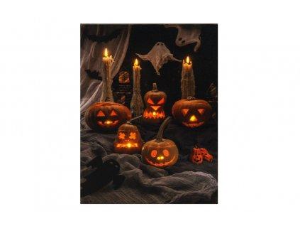 LED svítící obraz dýně a svíčky 30 x 40 x 1,8 cm
