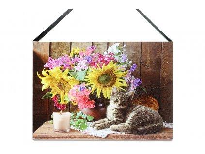 Sada 2 ks obrazů: Květiny a kočka s LED světlem 15 x 20 cm
