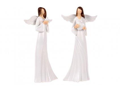 Sada 6 ks dekorací: Andělé v bílé barvě 9 cm