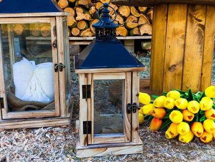 Lucerna dřevěná 24 cm