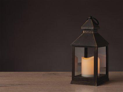 LED lucerna světelná HNĚDÁ 10,5 x 24 cm