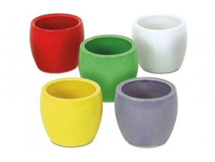 Sada 12 ks květináčů: Květináč keramický, mix barev 7 x 6 cm
