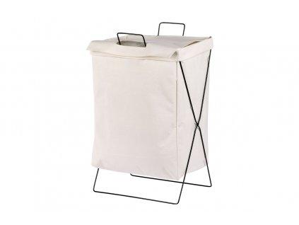 Koš na prádlo plátěný, bílý 36 x 26 x 56 cm