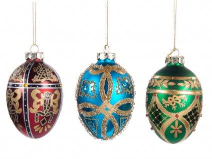 Sada skleněných vánočních ozdob 3ks Fabergého vejce