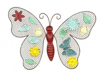 Kovová nástěnná dekorace barevný motýl 34 x 26 cm