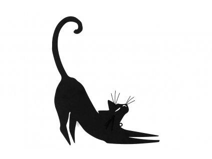 Kovová nástěnná dekorace černá kočka 34 x 41 cm