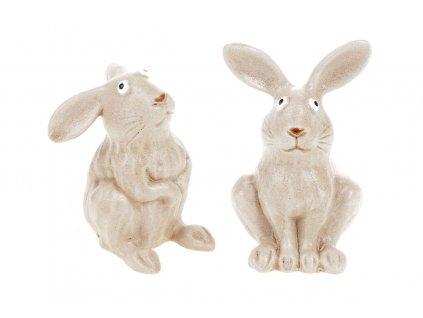 Sada 6 ks dekorací: Zajíc keramický 7,6 x 6,6 x 10 cm