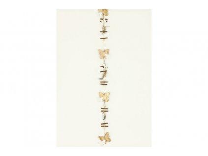 Sada 6 ks dekorací: Girlandy s dřevěnými motýlky 8 x 110 cm