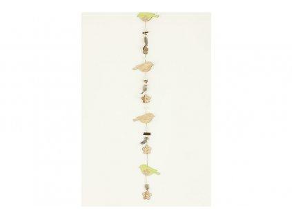 Sada 2 ks dekorací: Girlandy s dřevěnými ptáčky 12 x 110 cm