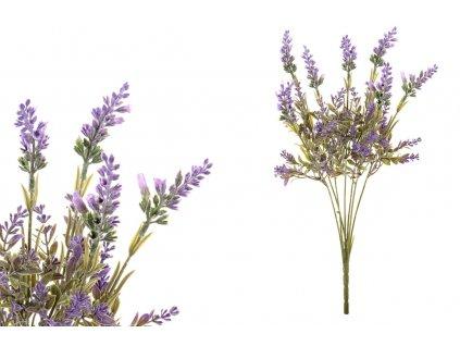 Sada 12 ks dekorací: Levandule fialové 45 cm