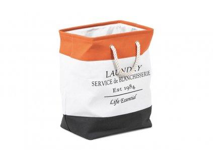 Koš na prádlo textilní, bílo-oranžový 40 x 30 x 53 cm
