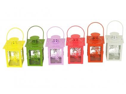 Sada 8 ks luceren: Kovové lucerny, barevný MIX 8,5 x 8,5 cm