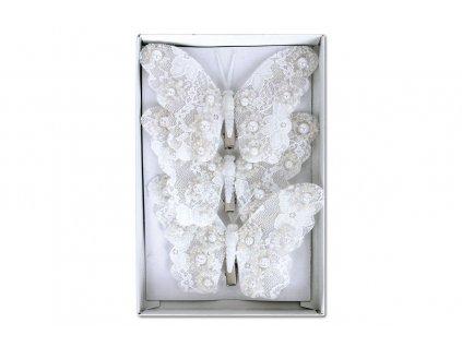 Sada 3 ks dekorací: Motýl na klipu bílý 12 cm