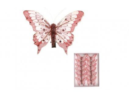 Sada 12 ks dekorací: Motýl na klipu růžový 8 cm