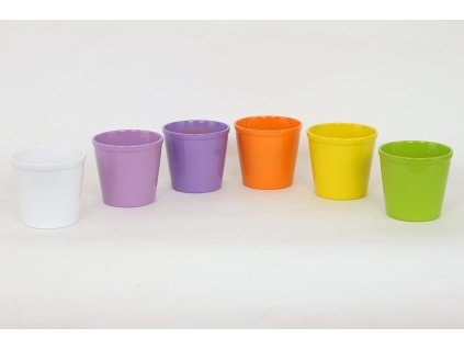Sada 6 ks květináčů: Květináč keramický, mix barev 11 x 11 x 10 cm
