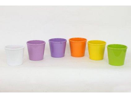 Sada 6 ks květináčů: Květináč keramický, mix barev 13,5 x 13,5 x 12 cm