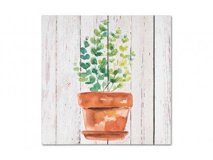 Sada 4 ks obrazů: Květiny v květináči na plátně 28 x 28 x 1,5 cm