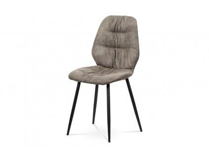 Jídelní židle hnědá broušená kůže / kov