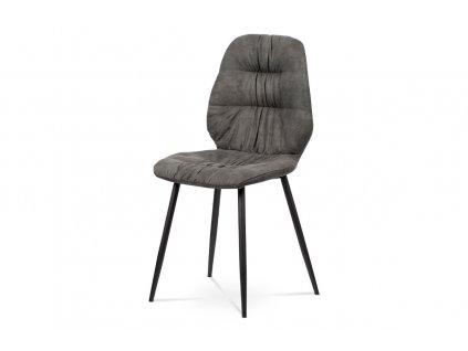 Jídelní židle šedá broušená kůže / kov