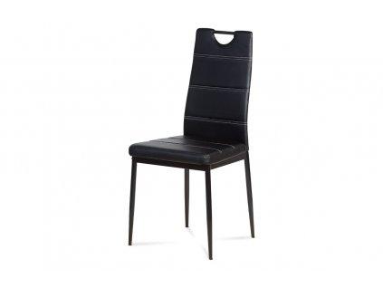 Jídelní židle černá ekokůže / kov