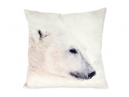 Dekorativní polštář s ledním medvědem bílý 45 x 45 cm