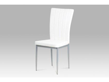 Jídelní židle bílá koženka / kov
