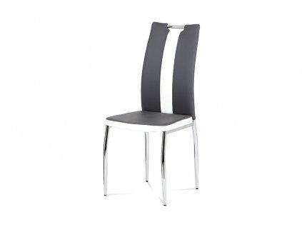 Jídelní židle koženka šedá a bílá / chrom