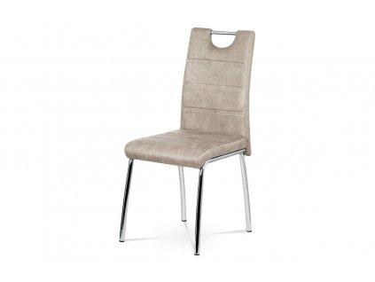 Jídelní židle lanýžová imitace broušené kůže / chrom