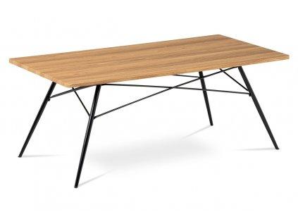 Konferenční stolek dub / černý 122 x 61 x 49 cm