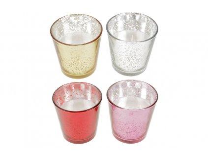 Sada 12 ks: Svíčky ve skle, mix barev 8 x 8 cm