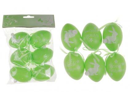 Sada 24 ks dekorací: Vajíčka plastová zelená 6 cm