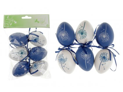 Sada 24 ks dekorací: Vajíčka plastová bílo-modrá 6 cm