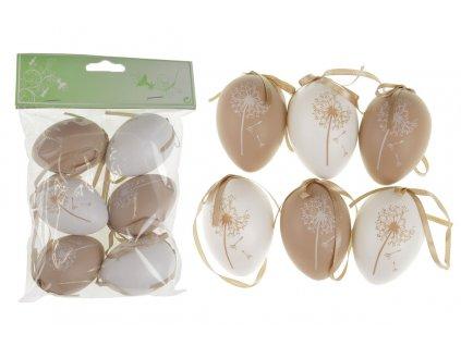 Sada 24 ks dekorací: Vajíčka plastová bílo-hnědá 6 cm