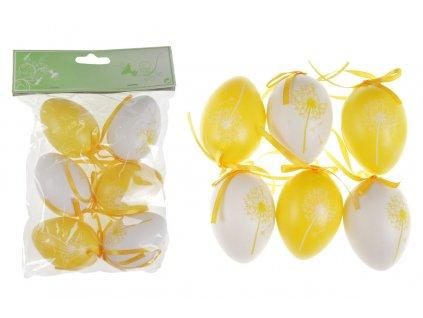 Sada 24 ks dekorací: Vajíčka plastová bílo-žlutá 6 cm