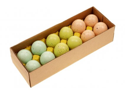 Sada 36 ks dekorací: Vajíčka slepičí tyrkysovo-zeleno-hnědá 6 cm