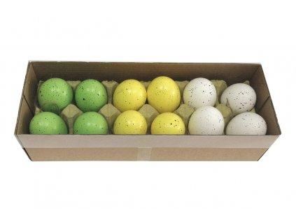 Sada 36 ks dekorací: Vajíčka slepičí bílo-žluto-zelená 6 cm