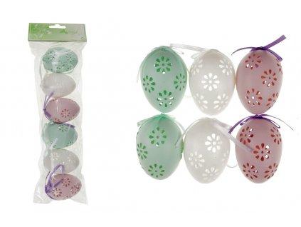 Sada 24 ks dekorací: Vajíčka plastová bílo-zeleno-růžová 6 cm