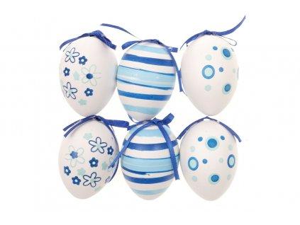 Sada 12 ks dekorací: Vajíčka plastová bílo-modrá 6 cm
